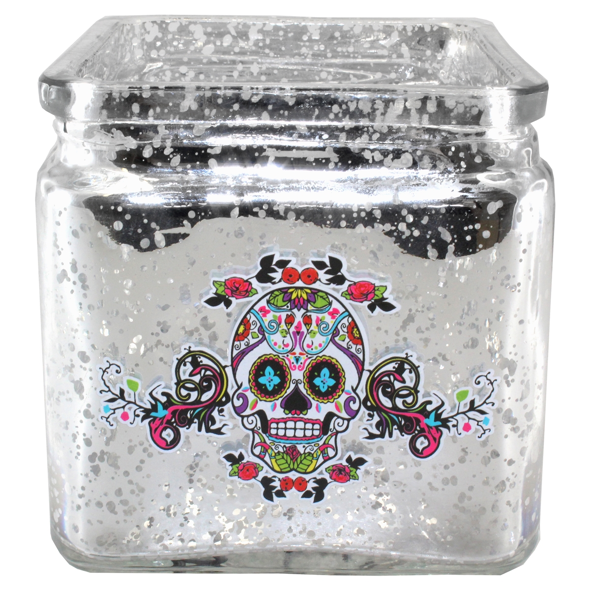 Sugar Skull Candle Holder Mercury Glass