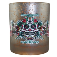 Sugar Skull Candle Holder Mercury Glass